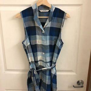 EShakti plaid scarf print dress M 8-10 blue